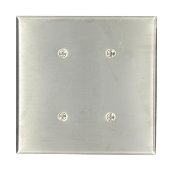 Stainless Steel 2-Gang Blank Plate Wall Plate (1-Pack)