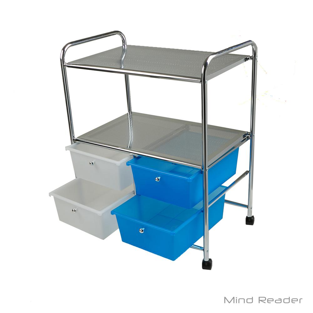Mind Reader Double Shelf Metal 4 Wheeled Storage Drawer Cart With Drawers In