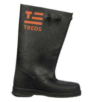 17 in. Men Medium Black Rubber Over-the-Shoe Boots, Size 7.5-8.5