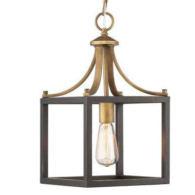 Boswell Quarter Collection 1-Light Vintage Brass Mini-Pendant with Painted Black Distressed Wood Accents