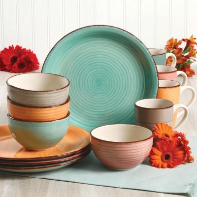 Color Vibes Pastel 12-Piece Assorted Color Stoneware Dinnerware Set (Service for 4)