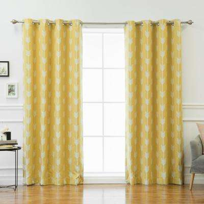 96 in. L Arrow Room Darkening Curtains in Yellow (2-Pack)