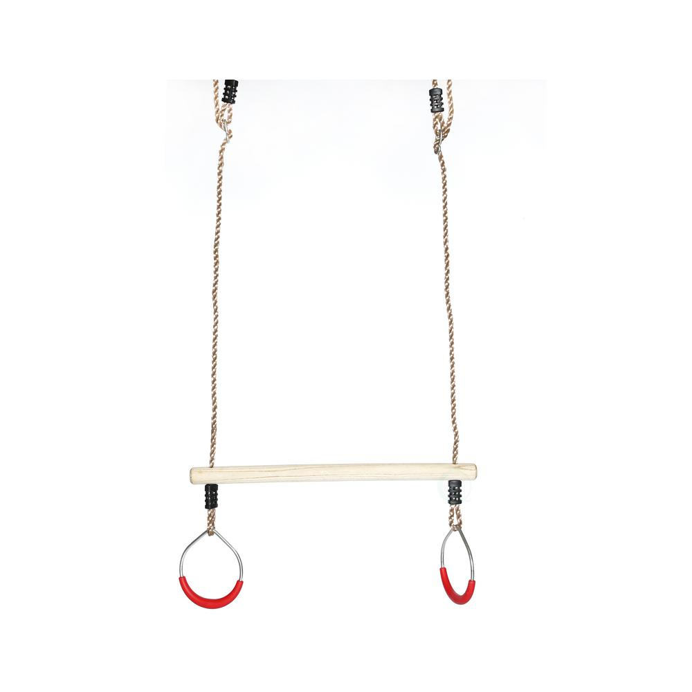 Playberg Kids Trapeze Bar Swing With Rings With Hanging Ropes