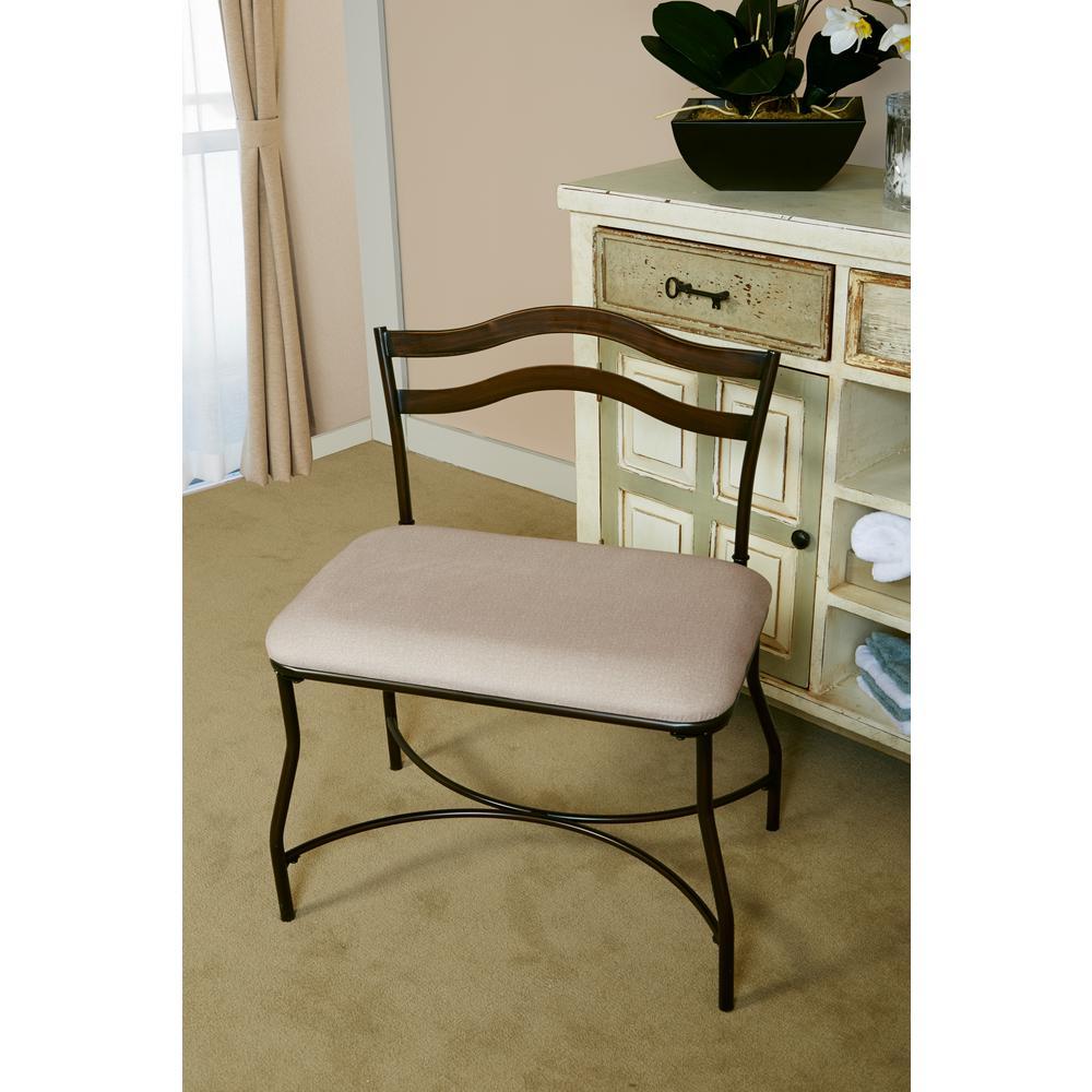 Hillsdale Windsor Beige Vanity Bench, Beige Seat In A Bur...