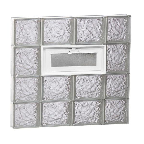 Clearly Secure 27 In X 25 In X 3 125 In Frameless Ice Pattern Vented Glass Block Window 2826vic The Home Depot