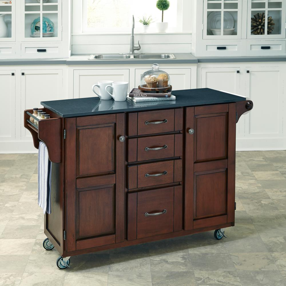 create a cart cherry kitchen cart with quartz top - Kitchen Island Home Depot