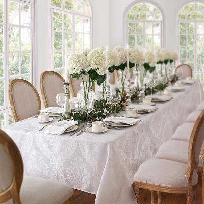 60 in. W x 144 in. L White Elrene Barcelona Damask Fabric Tablecloth