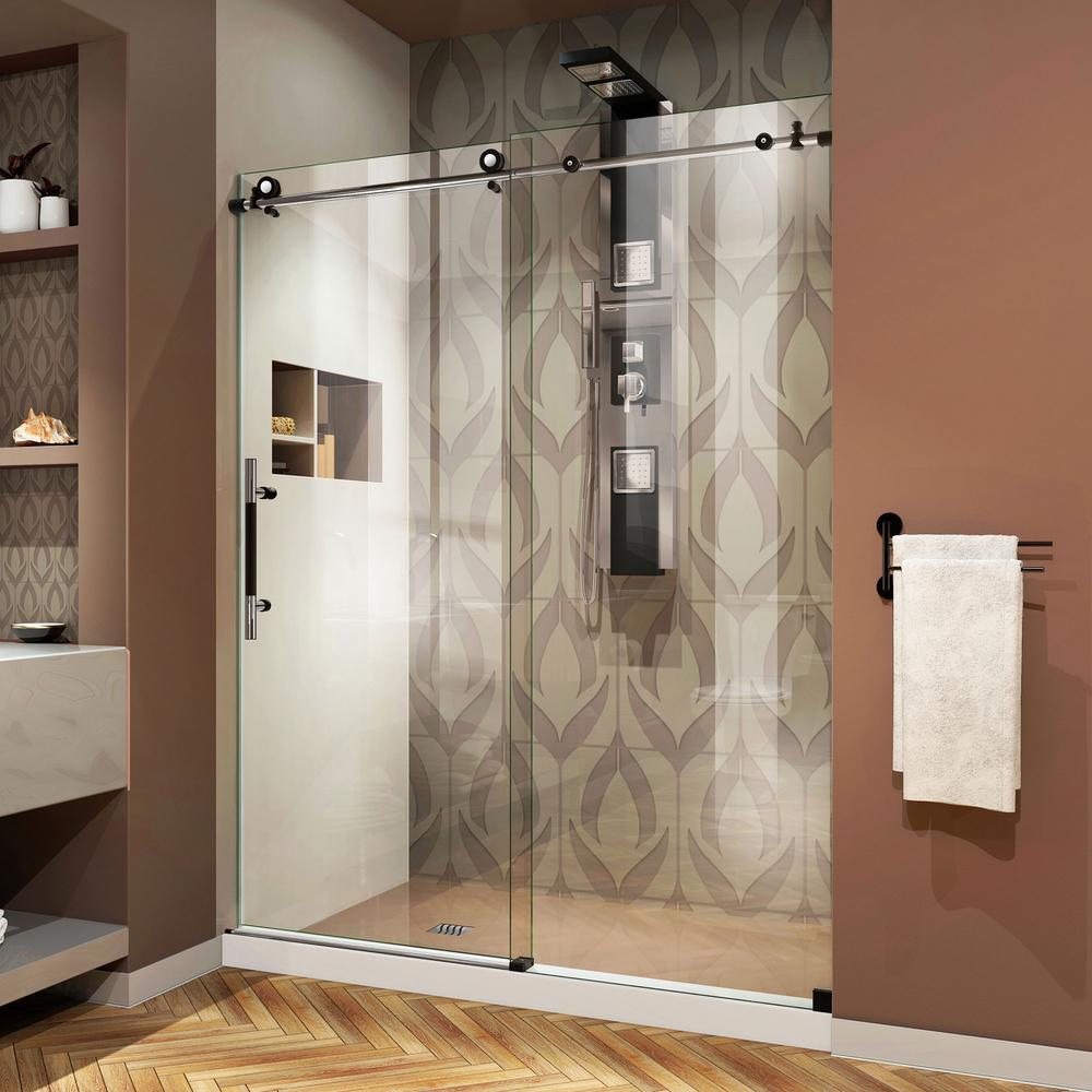 Enigma-XT 60 in. x 76 in. Frameless Sliding Shower Door in Tuxedo with Handle