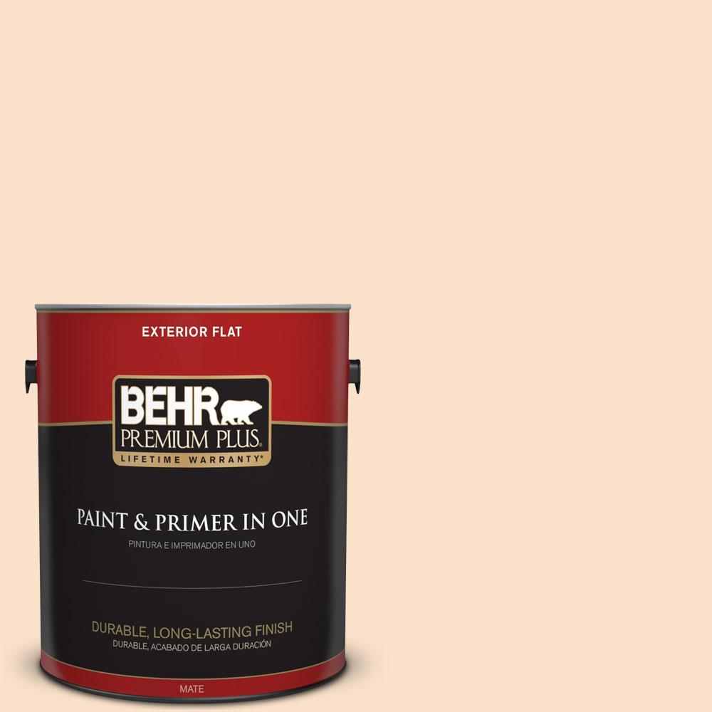 BEHR Premium Plus 1-gal. #300C-2 Sand Dollar White Flat Exterior Paint
