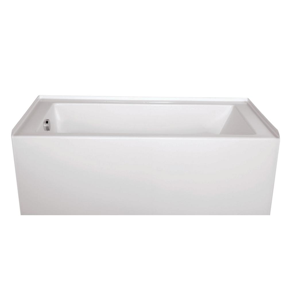 Hydro Systems Sydney Shallow Depth 60 in. Left Hand Drain Rectangular Alcove Whirlpool Bathtub in White