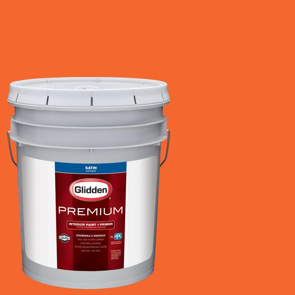 Glidden Premium 5 gal. #NHL-007E Chicago Blackhawks Orange Satin Interior Paint with Primer