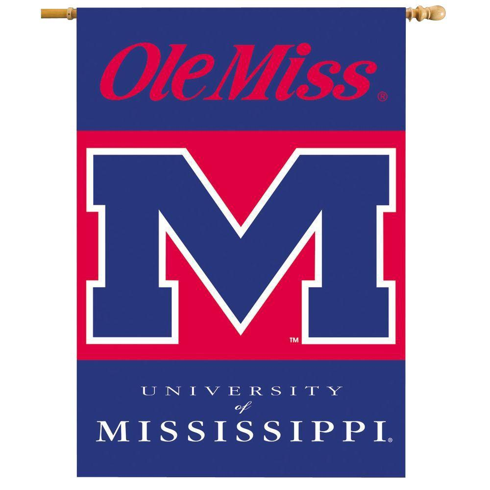 BSI Products NCAA 28 in. x 40 in. Ole Miss 2-Sided Banner with Pole Sleeve