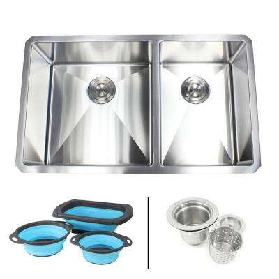 Undermount 16-Gauge Stainless Steel 32 in. x 19 in. 60/40 Double Bowl Kitchen Sink with Collapsible Silicone Colanders