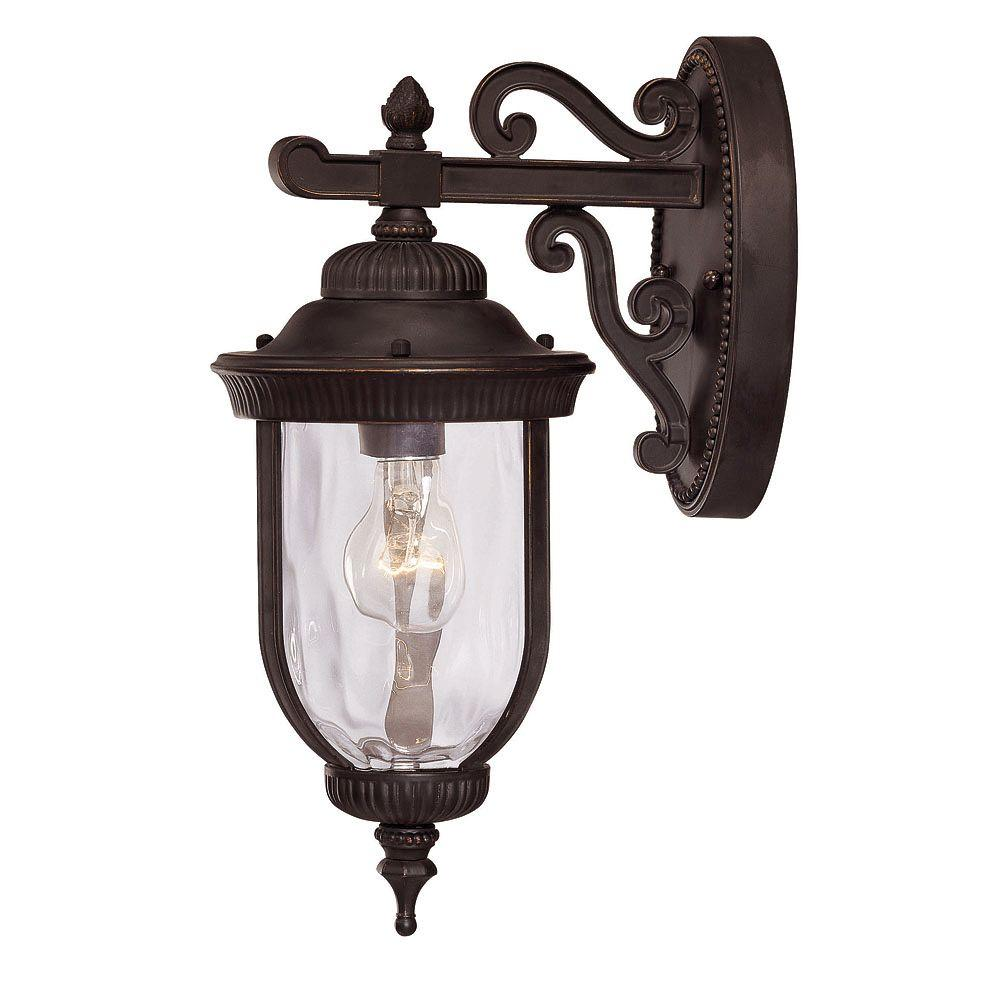 1-Light Wall Mount Lantern Black with Gold Finish Clear Hammered Glass