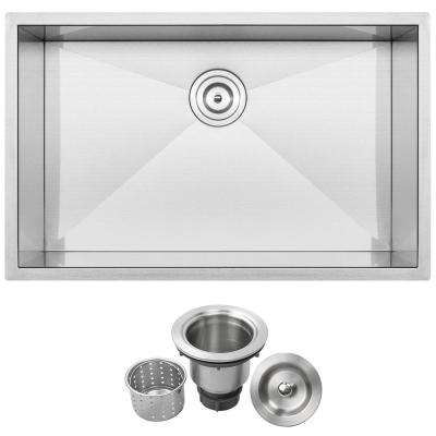Pacific Zero Radius Undermount 16-Gauge Stainless Steel 30 in. Single Basin Kitchen Sink with Basket Strainer