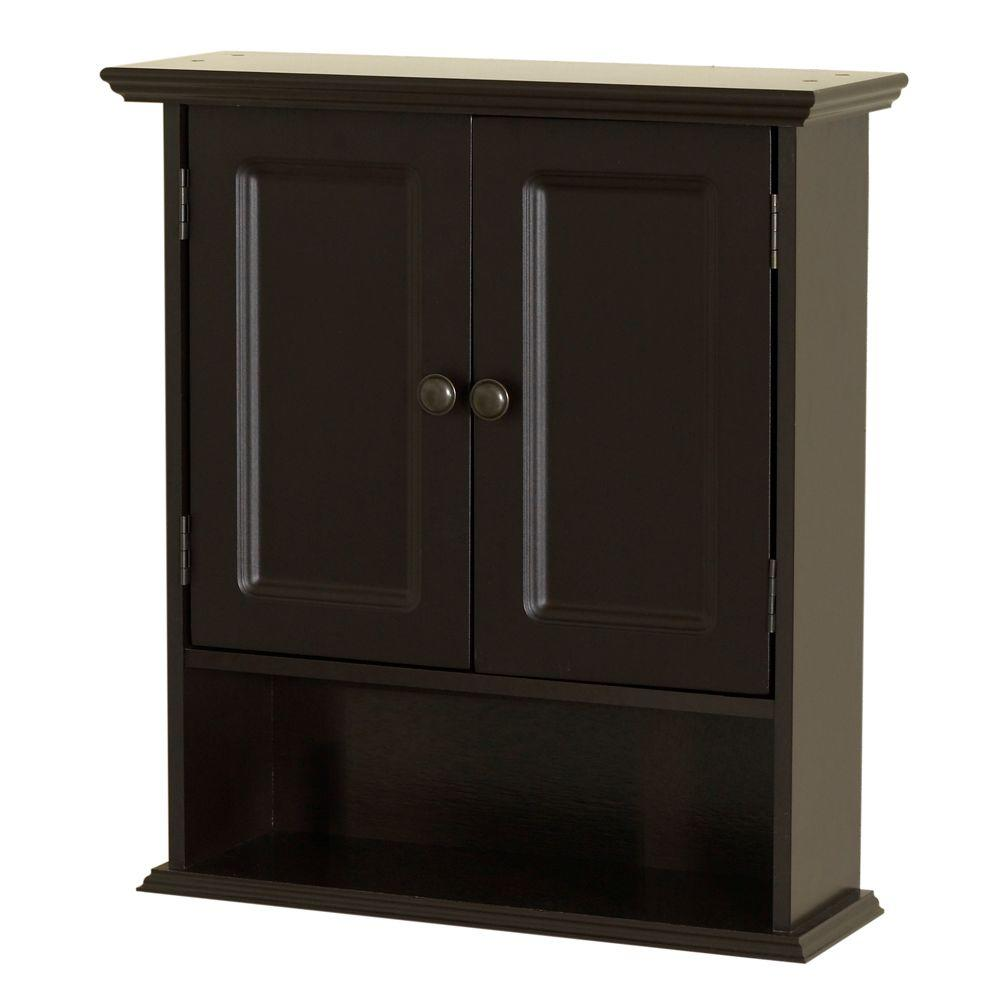 bathroom wall cabinets espresso zenna home collette 21 1 2 in w x 24 in h x 7 in d 17101