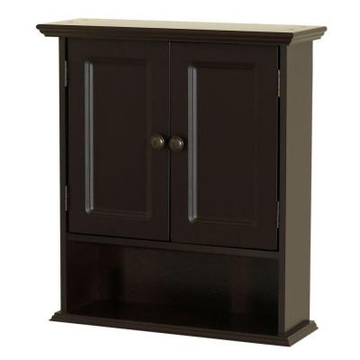 21.5 in. W x 24 in. H Bathroom Storage Wall Cabinet in Espresso