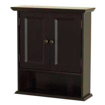 Collette 21-1/2 in. W x 24 in. H x 7 in. D Bathroom Storage Wall Cabinet in Espresso