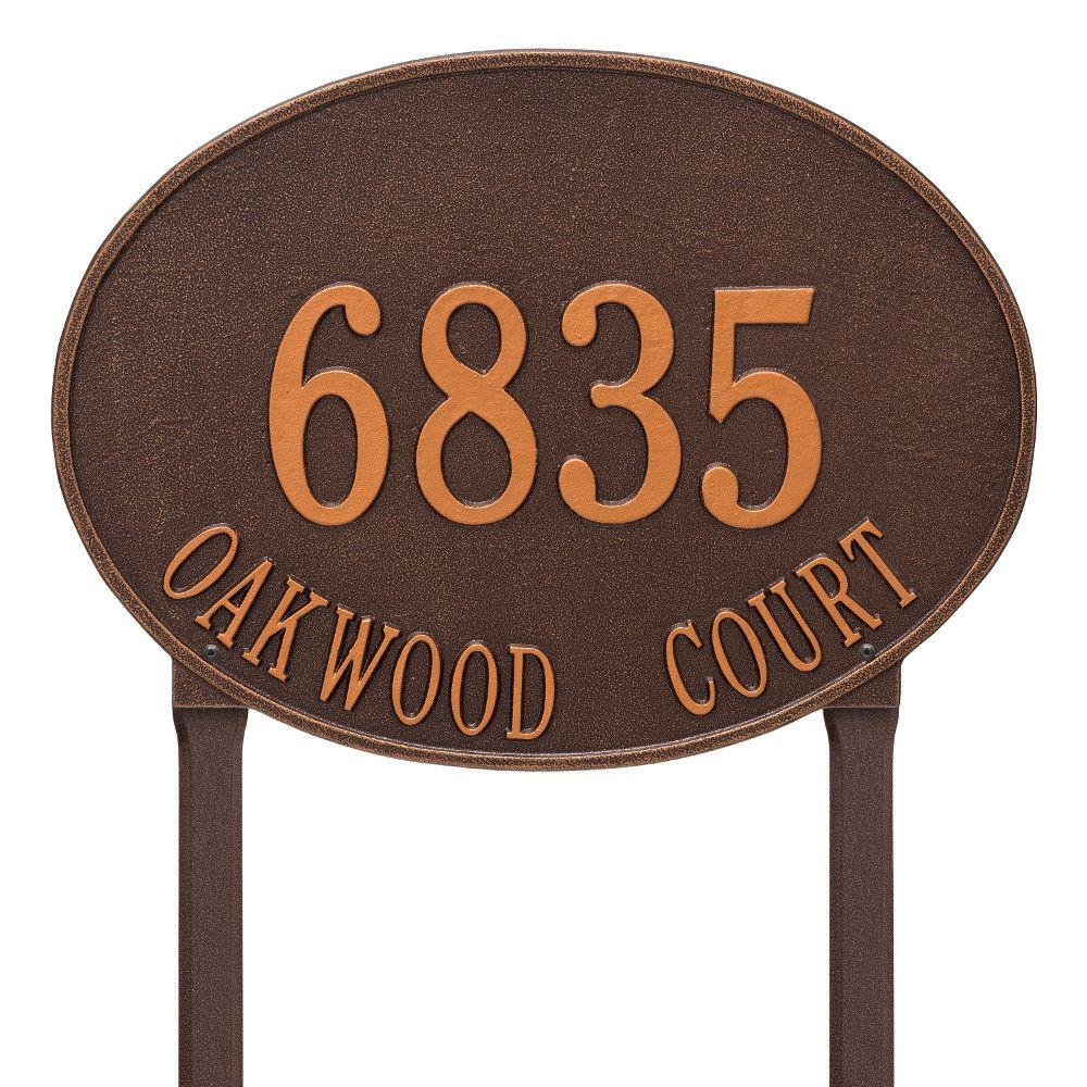 Hawthorne Estate Oval Antique Copper Lawn 2-Line Address Plaque