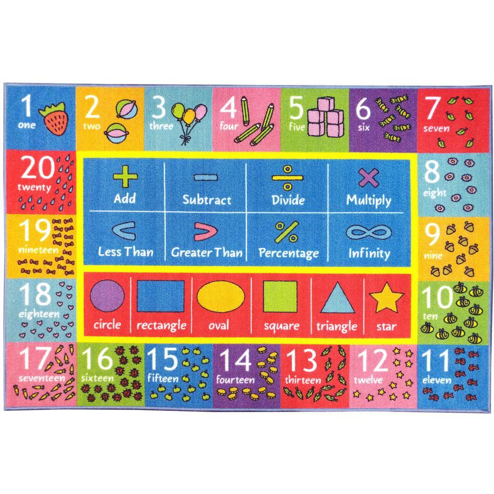 Multi-Color Kids Children Bedroom Math Symbols Numbers Shapes Educational Learning 8 ft. x 10 ft. Area Rug