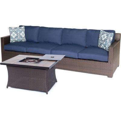 Metropolitan Brown 3-Piece All-Weather Wicker Patio Fire Pit Seating Set with Navy Blue Cushions