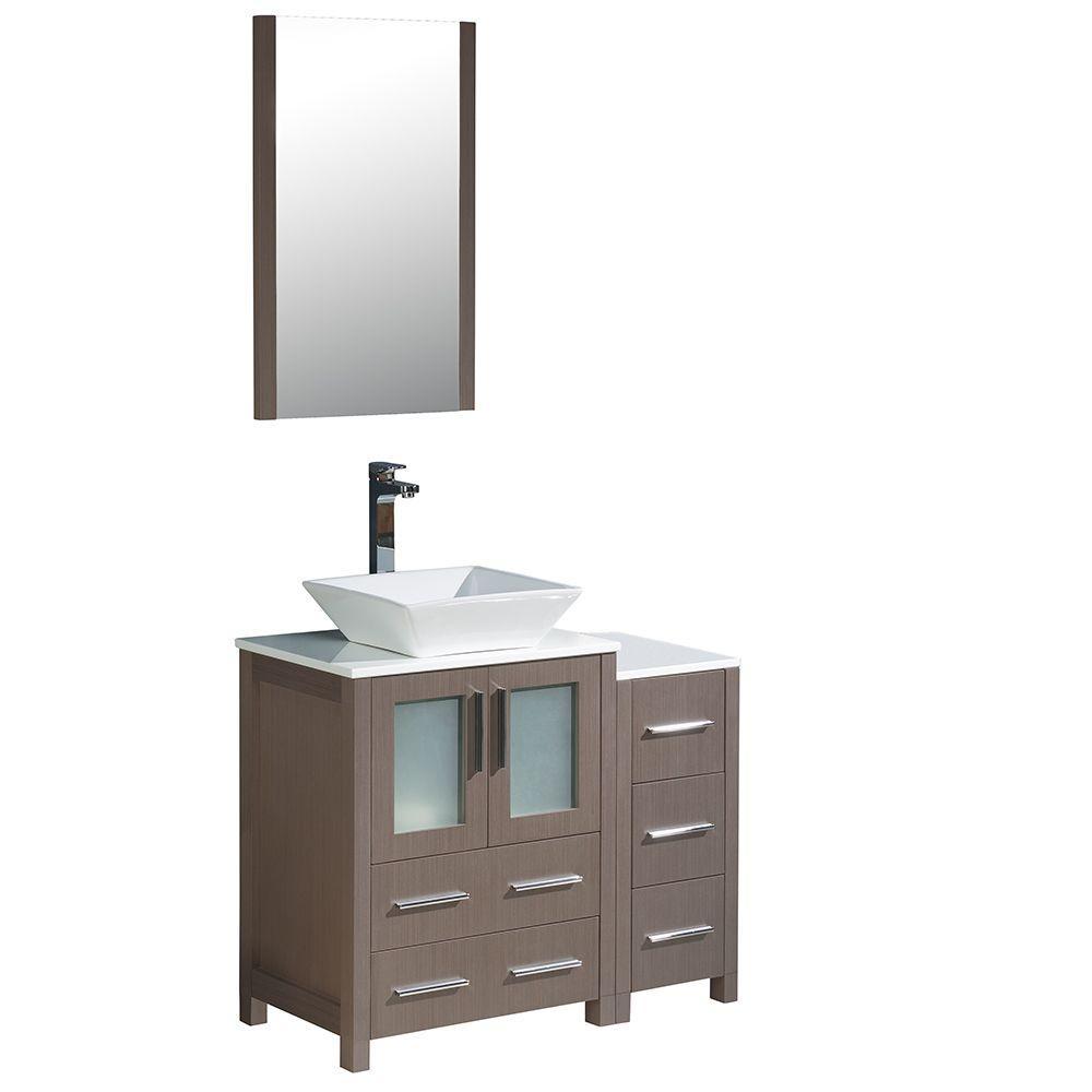 Torino 36 in. Vanity in Gray Oak with Glass Stone Vanity