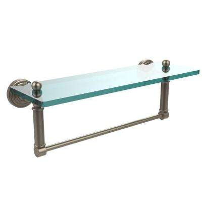 Waverly Place 16 in. L  x 5 in. H  x 5 in. W Clear Glass Bathroom Shelf with Towel Bar in Antique Pewter