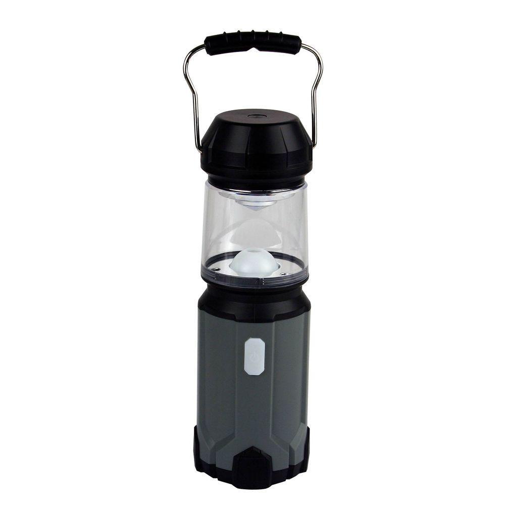 USB Rechargeable LED Power Bank Lantern,  Gun Metal Gray/Black