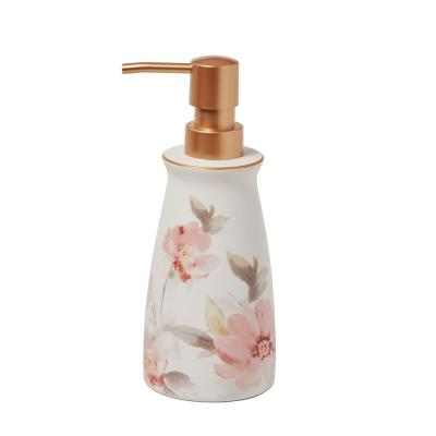 Misty Floral Free Standing Lotion Dispenser in Pink