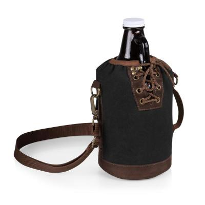 Black and Brown Insulated Growler Tote with 64 oz. Amber Glass Growler