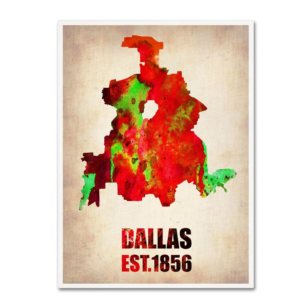 24 in. x 18 in. Dallas Watercolor Map Canvas Art