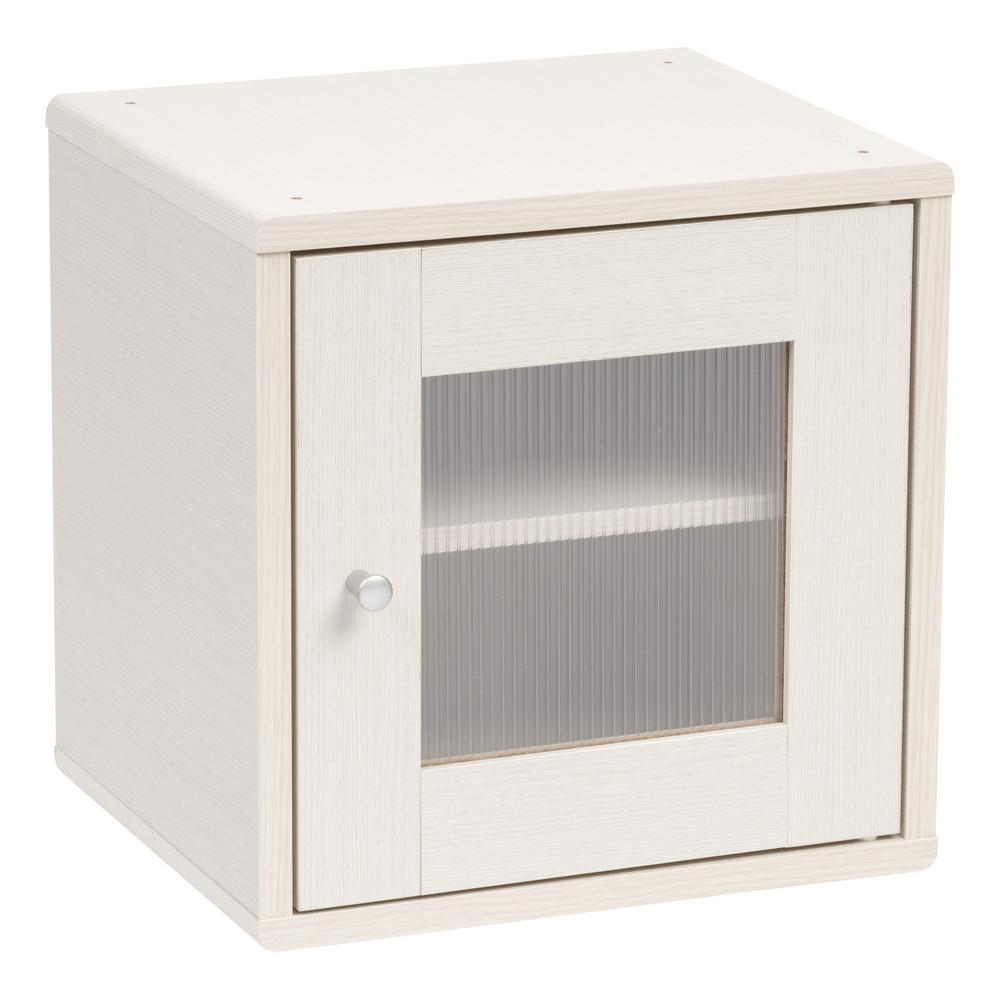 Wood Storage Cube with Window Door, White Pine, Kuda Series