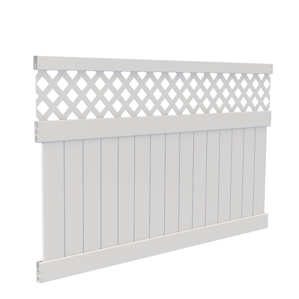 New White Vinyl Carlsbad Privacy Fence Panel Kit Lattice