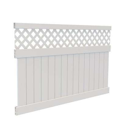 5 ft. H x 8 ft. W White Vinyl Carlsbad Privacy Fence Panel Kit