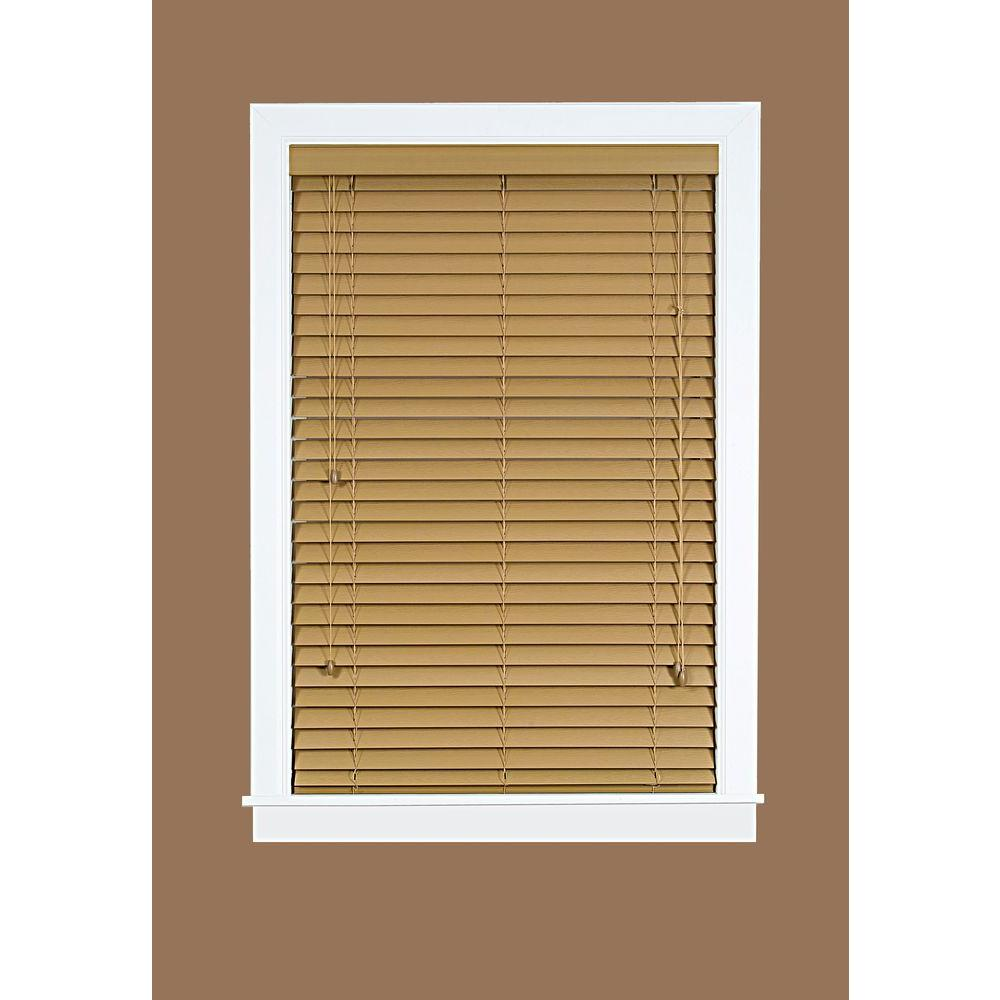Madera Falsa Maple 2 in. Faux Wood Plantation Blind - 35 in. W x 64 in. L (Actual Size 34.5 in. W 64 in. L )