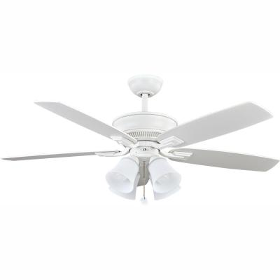 Devron 52 in. LED Indoor Matte White Ceiling Fan with Light Kit