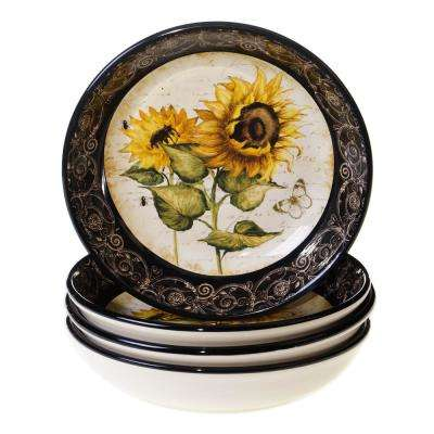 French Sunflowers 8.25 in. Soup and Pasta bowl (Set of 4)
