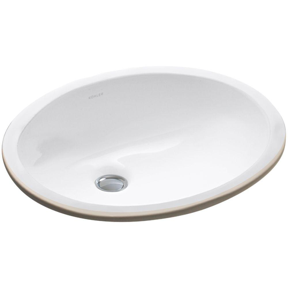 KOHLER Caxton Vitreous China Undermount Bathroom Sink In White With - Kohler bathroom sink drain assembly