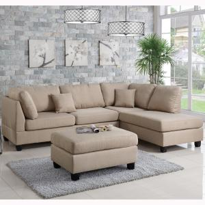 Internet 303716668 Venetian Worldwide Madrid 3 Piece Reversible Sectional Sofa In Sand With Ottoman