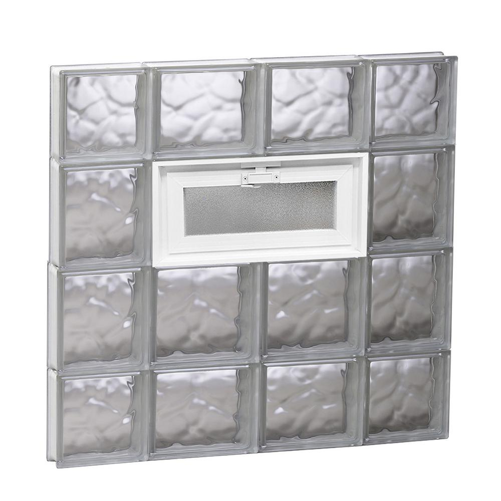 Clearly Secure 27 in. x 27 in. x 3.125 in. Frameless Wave Pattern Vented Glass Block Window