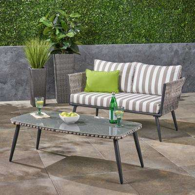 Oceanus Light Grey 2-Piece Wicker Patio Conversation Set with Grey and White Striped Cushions
