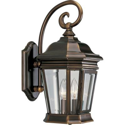 Crawford Collection 2-Light Oil-Rubbed Bronze 16.75 in. Outdoor Wall Lantern Sconce