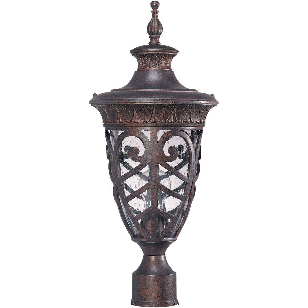 1-Light Outdoor Dark Plum BronzeMid-Size Post Lantern with Seeded Glass