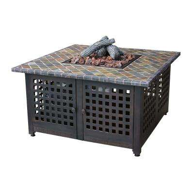 41.2 in. Propane Gas Fire Pit with Slate Mantel
