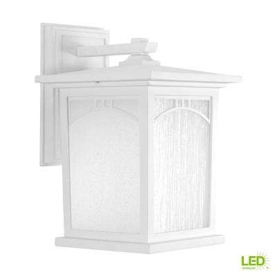 Residence Collection 1-Light 12.2 in. Outdoor Textured White LED Wall Lantern