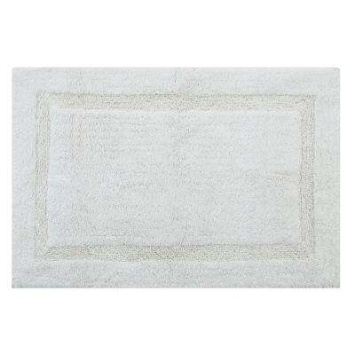 Regency 24 in. x 17 in. and 34 in. x 21 in. 2-Piece Set Cotton White Spray Non-Skid Backing Machine Washable Bath Rug