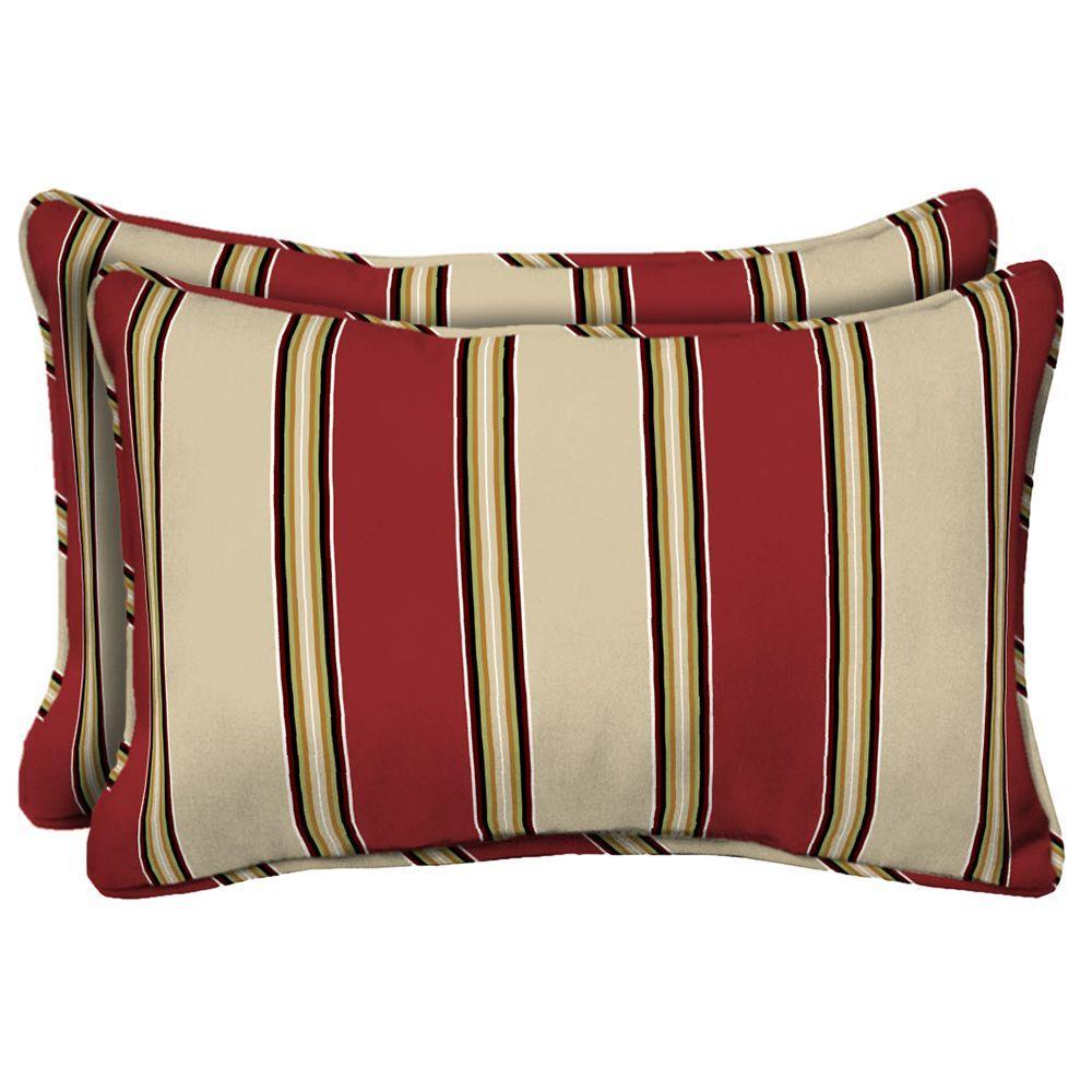 Hampton Bay Wide Chili Stripe Rectangular Outdoor Lumbar Pillow (2-Pack)