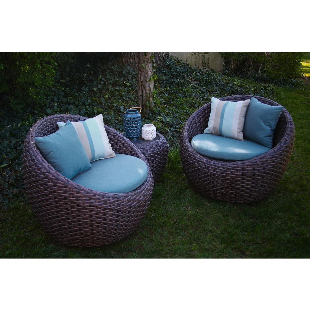 Nice AE Outdoor Corona 3 Piece All Weather Wicker Patio Deep Seating Set With  Sunbrella