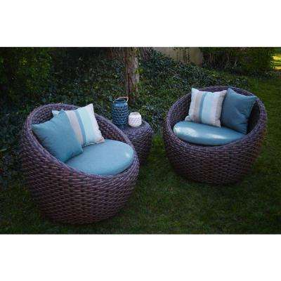 Corona 3-Piece All-Weather Wicker Patio Deep Seating Set with Sunbrella Blue Cushions