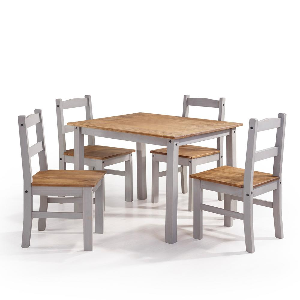 York 5-Piece Gray Wash Solid Wood Dining Set with 1-Table and